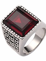 cheap -Men's Synthetic Sapphire / Synthetic Ruby Stylish / Solitaire Ring - Stainless Creative Stylish, Vintage, European 7 / 8 / 9 Red / Blue For Street / Club