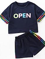 Недорогие -Дети Девочки Радужный С короткими рукавами Набор одежды