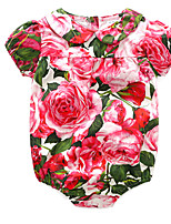 cheap -Baby Girls' Basic Floral Short Sleeves Cotton Romper / Toddler