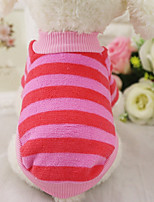 cheap -Dogs / Cats / Furry Small Pets Sweatshirt Dog Clothes Stripe Stripe 100% Coral Fleece Costume For Pets Female Sweet Style / Leisure