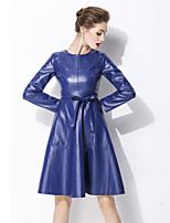 baratos -Mulheres Moda de Rua Evasê Vestido Sólido Altura dos Joelhos
