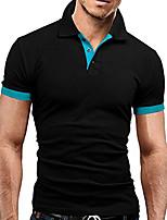 Недорогие -Муж. Polo Деловые / Классический Контрастных цветов Черный и серый