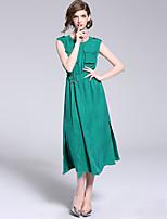 Недорогие -Жен. Винтаж / Уличный стиль А-силуэт Платье С разрезами Средней длины