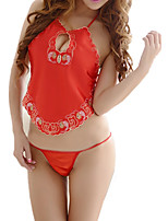 cheap -Women's Suits Nightwear - Backless, Embroidered