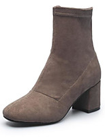 cheap -Women's Shoes Suede Fall & Winter Fashion Boots Boots Chunky Heel Square Toe Booties / Ankle Boots Coffee / Pink / Khaki