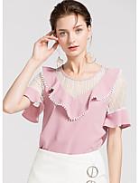 cheap -Women's Basic Blouse - Color Block Patchwork