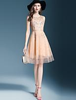 baratos -Mulheres Básico / Elegante Bainha Vestido Sólido / Floral Altura dos Joelhos