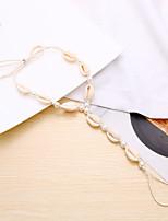 Недорогие -Плетение лодыжке браслет - Искусственный жемчуг Морская раковина Мода, Богемный, Элегантный стиль Белый Назначение Карнавал / На выход / Жен.
