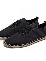 preiswerte -Herrn Leinen Frühling Komfort Sneakers Weiß / Schwarz / Beige
