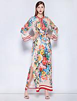 preiswerte -Damen Retro / Street Schick Kaftan Kleid - Druck, Blumen Maxi