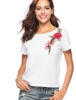 Недорогие -женская футболка - цветочная круглая шея