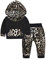 Недорогие -малыш Девочки Классический Леопард / Контрастных цветов Длинный рукав Хлопок Набор одежды / Дети (1-4 лет)