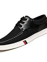 cheap -Men's Denim / PU(Polyurethane) Spring Comfort Sneakers Black / Dark Blue
