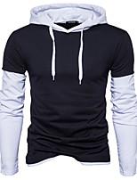 cheap -Men's Long Sleeve Slim Hoodie - Color Block Hooded