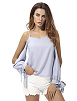 cheap -Women's Basic Blouse - Solid Colored Lace up