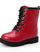 cheap -Girls' Shoes PU(Polyurethane) Fall & Winter Combat Boots Boots Walking Shoes Lace-up for Teenager Black / Red / Wine / Booties / Ankle Boots