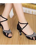 Недорогие -Жен. Обувь для латины Полотно На каблуках Толстая каблук Танцевальная обувь Черный