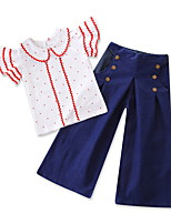 cheap -Baby Girls' Solid Colored / Polka Dot Short Sleeve Clothing Set
