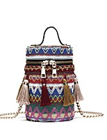 cheap -Women's Bags PU(Polyurethane) Shoulder Bag Embroidery / Tassel Blue / Red