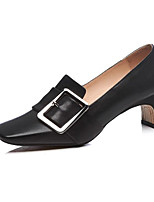 cheap -Women's Shoes Nappa Leather Spring / Fall Comfort / Basic Pump Heels Chunky Heel White / Black / Marron