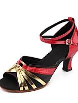 preiswerte -Damen Schuhe für modern Dance Kunstleder Sandalen Kubanischer Absatz Maßfertigung Tanzschuhe Gold / Silber / Schwarz / Rot