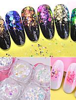 economico -6pcs Glitter Luminoso / 6 colori manicure Manicure pedicure Glitter per unghie Da tutti i giorni