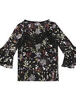baratos -Mulheres Blusa - Para Noite / Trabalho Floral