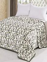 baratos -Velocino de Coral, Impressão Reactiva Geométrica / Floral / Botânico Algodão / Poliéster cobertores