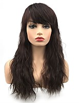 cheap -Synthetic Wig Wavy Middle Part Synthetic Hair Synthetic Dark Brown Wig Women's Long Capless