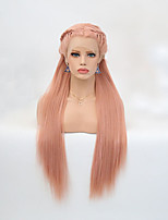 cheap -Synthetic Lace Front Wig Straight Pink Braid Synthetic Hair Heat Resistant Pink Wig Women's Long Lace Front / Yes
