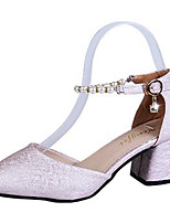 cheap -Women's Shoes PU(Polyurethane) Summer Basic Pump Heels Chunky Heel Pointed Toe Rhinestone White / Black / Pink