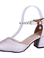 preiswerte -Damen Schuhe PU Sommer Pumps High Heels Blockabsatz Spitze Zehe Strass Weiß / Schwarz / Rosa