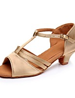 baratos -Para Meninas Sapatos de Dança Latina Cetim Salto Salto Cubano Personalizável Sapatos de Dança Dourado / Preto / Marron