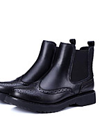 cheap -Women's Shoes Cowhide Fall & Winter Combat Boots Boots Low Heel Round Toe Booties / Ankle Boots Black
