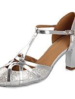 preiswerte -Damen Schuhe für modern Dance Lackleder Sandalen / Absätze Paillette / Schnalle Kubanischer Absatz Maßfertigung Tanzschuhe Silber