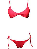 cheap -Women's Strap Bikini - Solid Colored / Leopard Cheeky