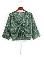 cheap -Women's T-shirt - Polka Dot / Striped Deep V