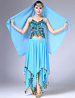 cheap -Belly Dance Outfits Women's Performance Chiffon Ruching / Paillette Sleeveless Dropped Hair Jewelry / Skirts / Top
