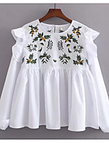 cheap -Women's Basic Cotton Shirt - Floral Embroidered / Spring