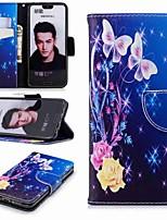 Недорогие -Кейс для Назначение Huawei Honor 10 / Honor 7A Кошелек / Бумажник для карт / со стендом Чехол Бабочка Твердый Кожа PU для Honor 7X / Honor 7C(Enjoy 8) / Honor 6X