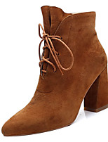 cheap -Women's Shoes Suede Fall Combat Boots Boots Chunky Heel Pointed Toe Booties / Ankle Boots Black / Dark Brown