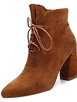 Недорогие -Жен. Обувь Замша Осень Армейские ботинки Ботинки На толстом каблуке Заостренный носок Ботинки Черный / Темно-коричневый