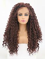 Недорогие -Синтетические кружевные передние парики Кудрявый / Матовое стекло Темно-коричневый Боковая часть Темно-рыжий Искусственные волосы 24 дюймовый Жен. Регулируется / Жаропрочная Темно-коричневый Парик