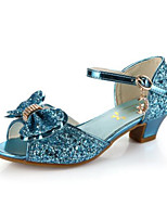 cheap -Girls' Shoes Synthetics Summer Flower Girl Shoes / Tiny Heels for Teens Sandals for White / Blue / Pink