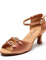 Недорогие -Жен. Обувь для латины Сатин На каблуках Тонкий высокий каблук Танцевальная обувь Черный / Телесный