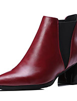 cheap -Women's Shoes PU(Polyurethane) Spring &  Fall Bootie / Combat Boots Boots Chunky Heel Pointed Toe Booties / Ankle Boots Black / Gray / Red / Party & Evening