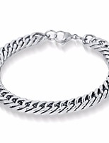 cheap -Men's Single Strand Chain Bracelet - Titanium Steel, Silver Plated Wave Simple, European Bracelet Silver For Daily / Festival