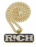 baratos -Homens Zircônia Cubica Fashion / Corrente Grossa Colares Declaração / colares em camadas - Letra Importante, Original, Hip-Hop Legal Dourado 90 cm Colar Jóias 1pç Para Rua, Bandagem