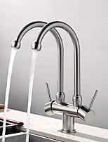 Недорогие -кухонный смеситель - Современный Хром / Начищенная бронза / Матовый никель Стандартный Носик Настольная установка