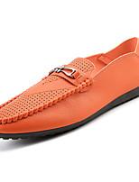 abordables -Homme Chaussures Croûte de Cuir Automne Moccasin Mocassins et Chaussons+D6148 Blanc / Noir / Orange